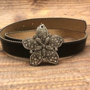 Leatherock • Black Leather Flower Belt